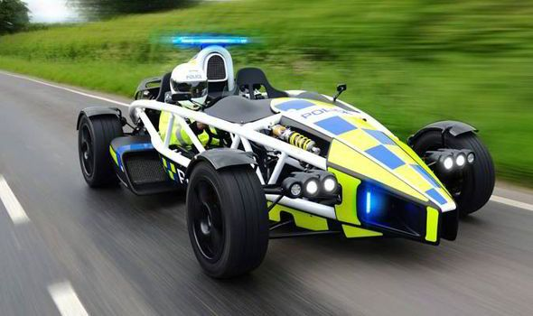 Ariel Atom, Avon and Somerset police car. The 350bhp Ariel Atom car has now been fitted with blue flashing lights and emergency equipment and will be used in a campaign this summer.  The £38,000 car can do 0-62mph in just 2.5 seconds and a variant model has the lap record at the Top Gear test track.