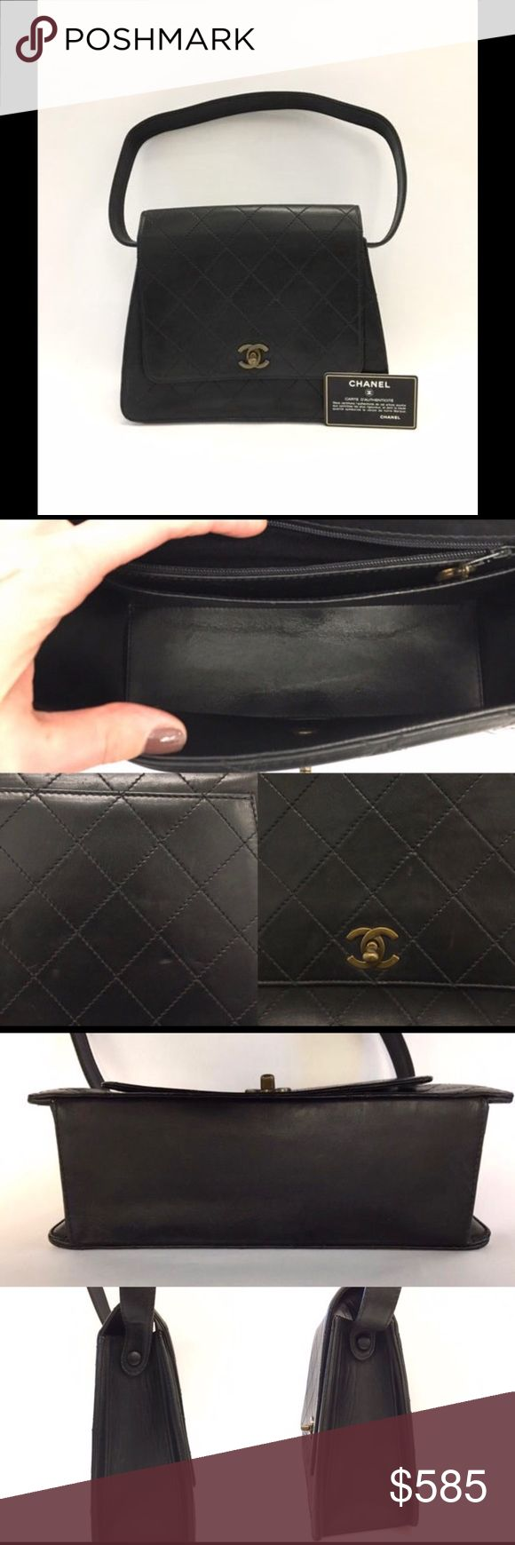 """Authentic Chanel Quilted Shoulder Bag With CC Lock All prices are final! No trading. Rare authentic Chanel black quilted lambskin shoulder bag with classic CC turn lock. Serial number: 5055443   Material: lambskin leather, leather lining, zip pocket has fabric lining. Measurements: L 10"""" x H 8"""" x D 3.3"""" Shoulder strap: 25"""" Good pre owned condition  Outside: wrinkles, scuff marks, scratches, dent on outside pocket. Strap has wrinkles and creases.  Inside: lining has scuff marks, scratches…"""