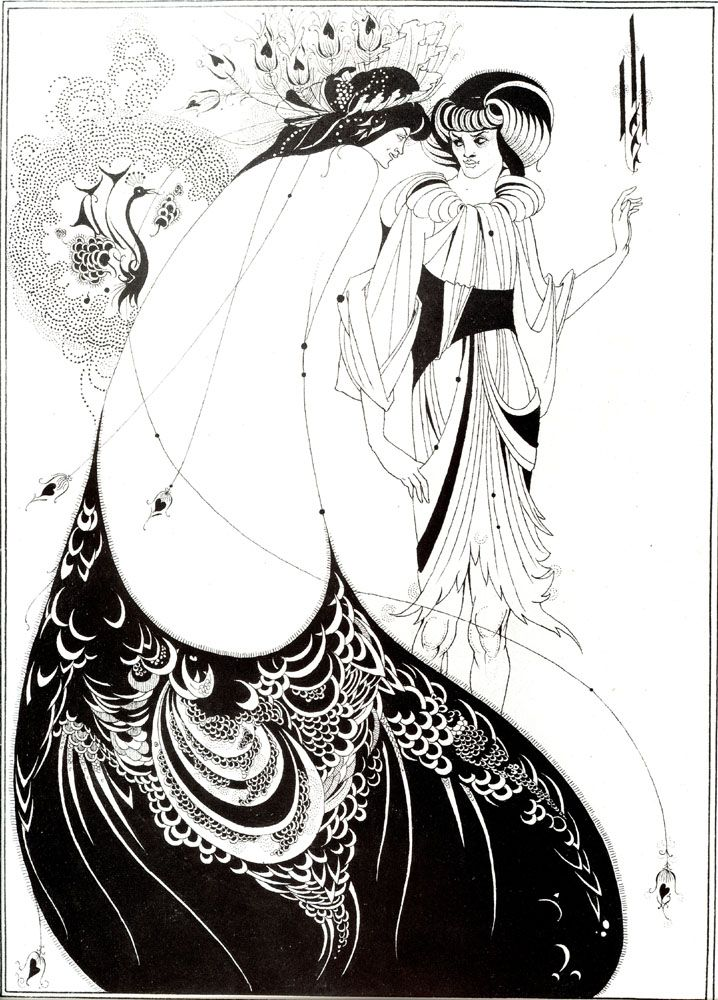 """La gonna di Pavone"" Aubrey Beardsley, 1893, incisione. Victorian and Albert Museum, London."