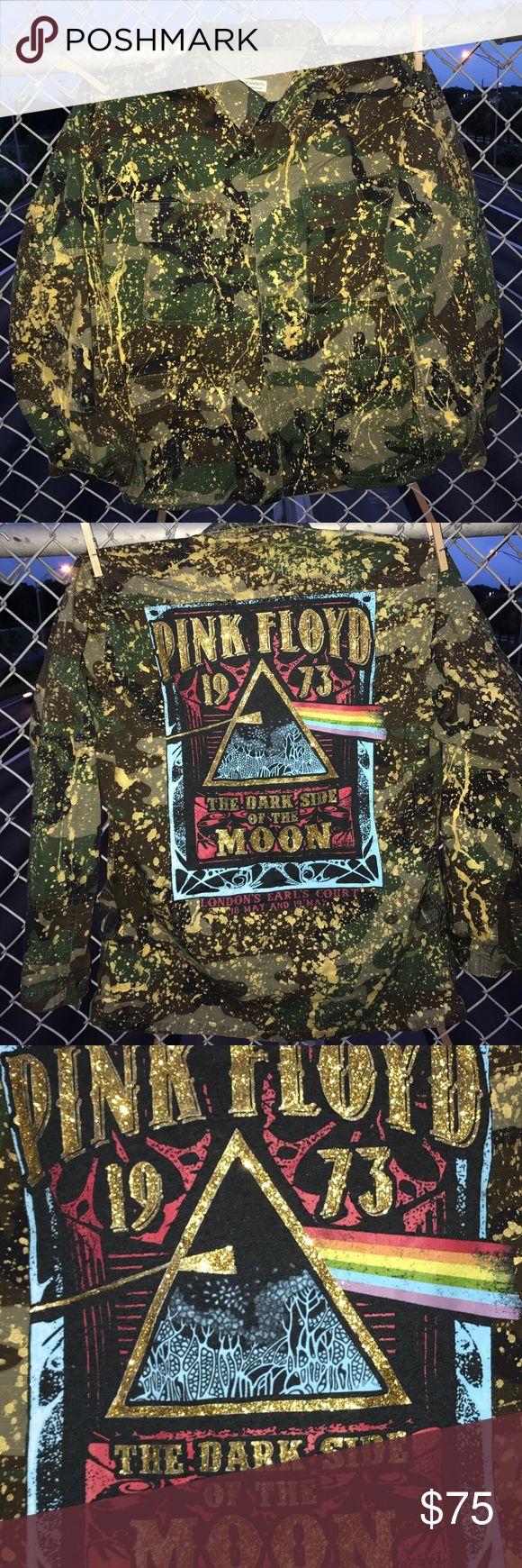 Custom Pink Floyd Army Fatigue Jacket Custom Paint Splattered And Pink Floyd T-Shirt Embellished  Fatigue Jacket. Size Small Or Oversize Small. One Of A Kind. Jackets & Coats