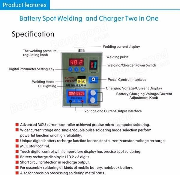 Only US$166.66, buy best 787A+ LED Pulse Battery Spot Welder Precision Welding Machine with Pedal Power Applicable Notebook Phone Battery sale online store at wholesale price.US/EU warehouse.