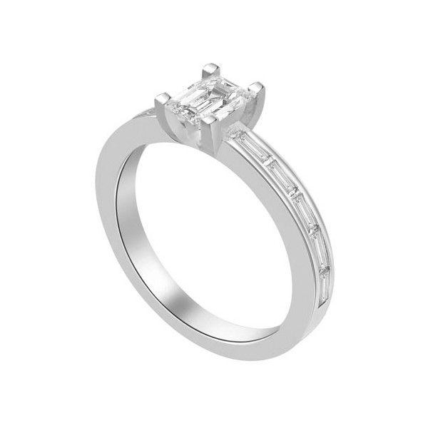 ANELLO DI FIDANZAMENTO SOLITARIO COMPOSTO CON DIAMANTE SUL GAMBO 18CT ORO BIANCO | Solitario Composto con 10 diamanti laterali. Il peso totale dei carati per questo anello va da 0.60ct a 0.80ct. Il diamante centrale Taglio Smeraldo montato in griffe e` disponibile da 0.20ct a 0.40ct. I 10 diamanti laterali sono taglio baguette montati a pave`. I diamanti laterali sono 0.04ct ciascuno per un totale di 0.40ct.
