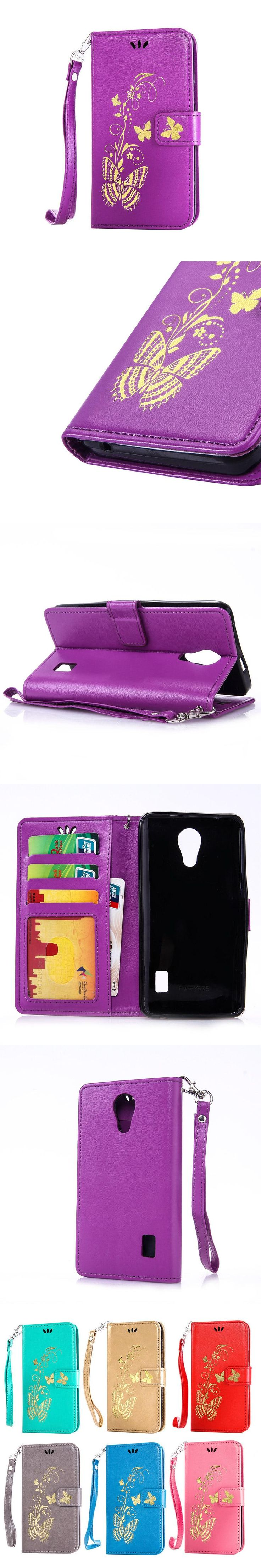 Golden Butterfly PU Leather Card slot Wallet Flip Case For Huawei Y320 Y360 Y550 Y560 Y625 Y635 Y5C Y541 Y6 Y3 Y5 II Pro B13