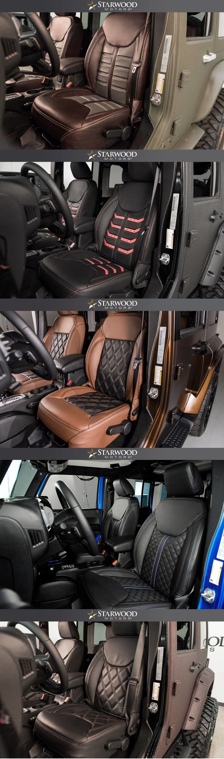 Starwood Motors awesome leather interiors! #starwoodmotors #Jeep #JeepWrangler #CustomJeep #JeepMods #JeepLife #oIIIIIIIo