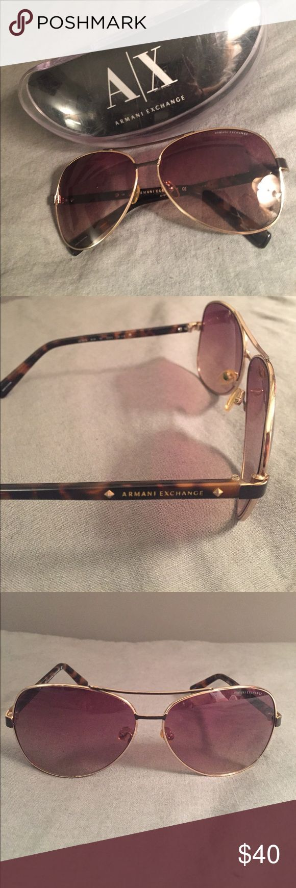 ✨Armani Exchange Aviators ✨ Authentic Armani Exchange aviator style sunglasses. Tortoise shell + gold coloring. Purchased from store but have been worn. Minor scratches on lenses, but nothing that would affect sight.  One arm slightly bent (as seen in photo), but fit on the face just fine. Sold with case!! Armani Exchange Accessories Sunglasses