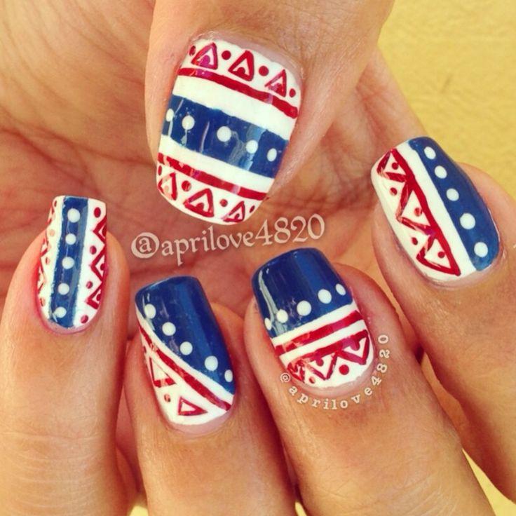 Independence Day nail art - usa nail art -red white and blue nail art #nails #usa nails #independence nail art #fourth of July nails #4th of July nails #nail art ideas #nail art designs #cute nails #summer nails #nails for summer #girly nails #tribal nails #geometric nails