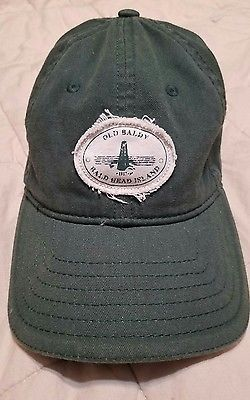 Mens Baseball Hat Cap Old Baldy Bald Head Island Hunter Green Adjustable Cotton