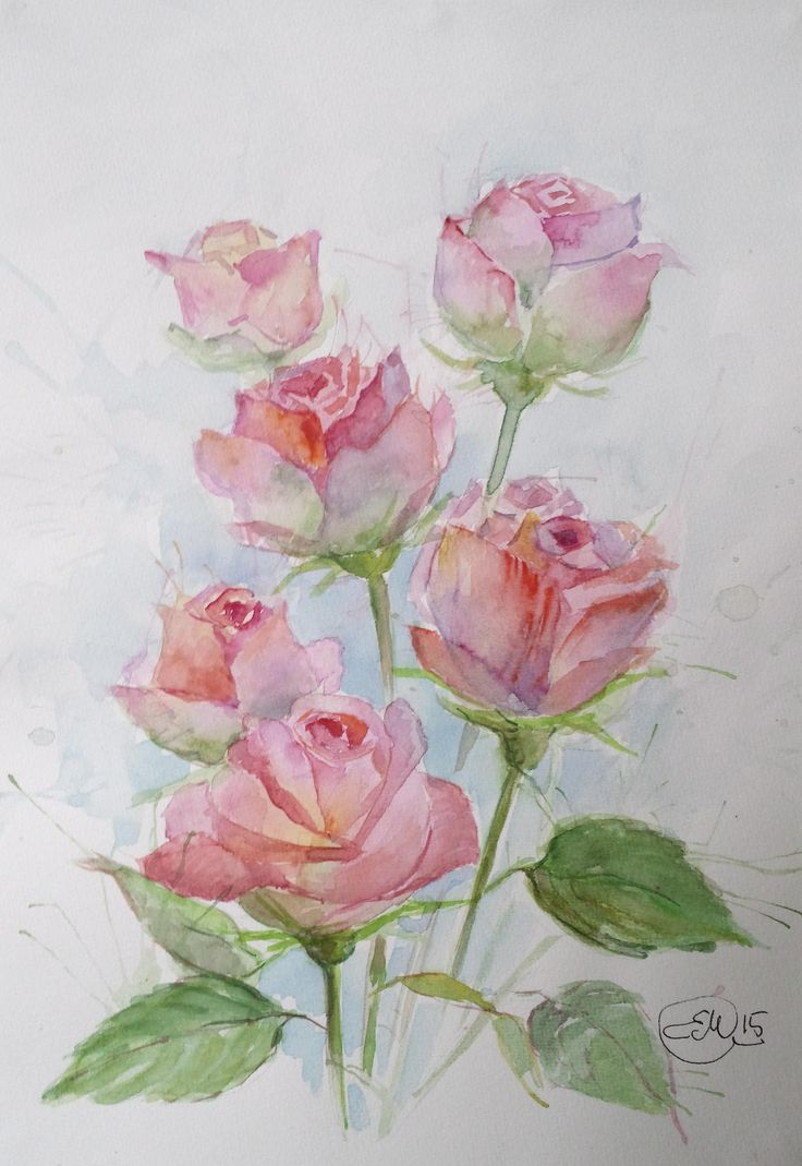 Watercolor books for sale - Original Watercolor Painting Roses 21x29 7 Cm 8 3x11