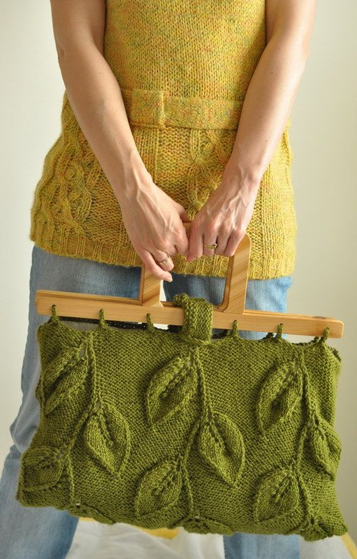 Designer hand knit leafy handbag large purse with wooden handles – eco-fashion – Spring Walk – LAST ONE AVAILABLE