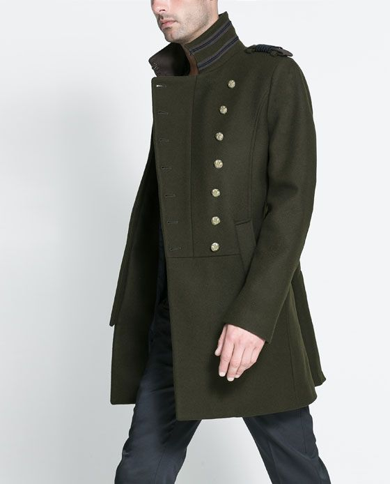 Image 1 of MILITARY STYLE COAT from Zara http://www.zara.com/be/en/man/coats-and-trench-coats/military-style-coat-c277002p1475525.html