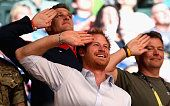Prince Harry is caught on 'Salute Cam' during the GBR Vs Australia wheelchair rugby match at the Invictus Games Orlando 2016 at ESPN Wide World of...