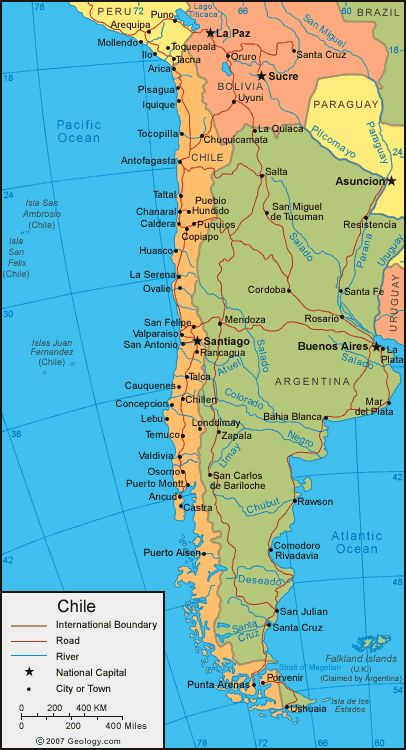 Chile political map