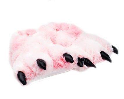 0f7692cc949 Wishpets Grizzly Pink Bear Animal Furry Fuzzy Soft Paw Claw Slippers Shoe