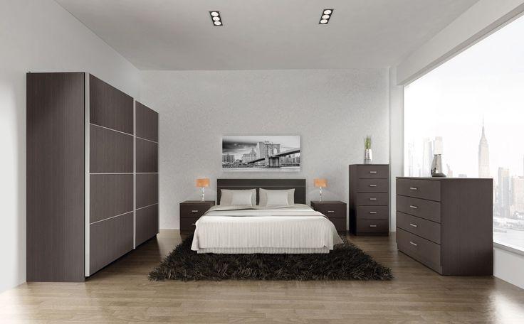 Dormitorio matrimonio Joa Sixti compuesto de :  1 armario puertas correderas de :180x60x220cms 2 mesitas:45x35x46.2cms 1 cómoda 4 cajones:80x45x85cms 1 sinfonier:45x35x102.5cms 1 cabezal:159x2.5x50.3 cms Color disponible wengué Fabricado en aglomerado melaminizado Frish Foll  Se sirve en Kit de muy fácil montaje con instrucciones claras