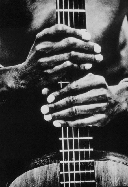 John Lee Hooker's hands Riverside. Photography by Larence N. Shustak.