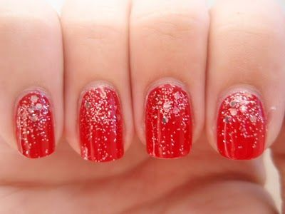 red with glitter ombre. These are my wedding nails for sure!