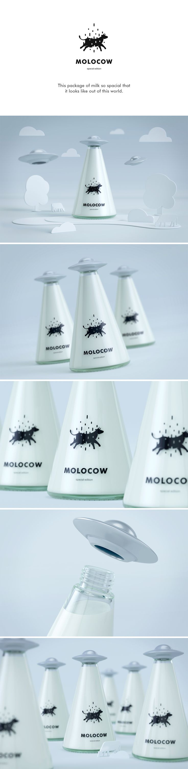 Molocow is a fun concept package for milk. We reimagined milk bottle and package to appeal for kids. We created fun way to pack milk in an out of this world fashion.