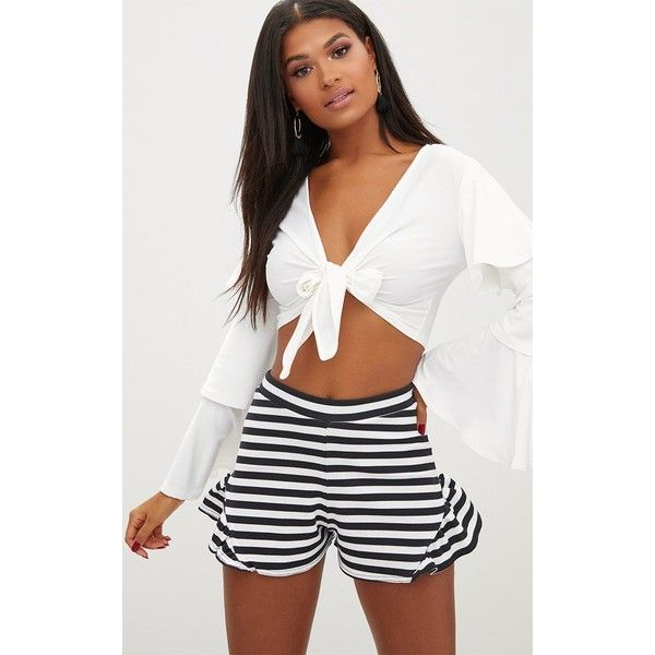 Monochrome Stripe Flare Frill Shorts (£12) ❤ liked on Polyvore featuring shorts, black, striped shorts, frilly shorts, stripe shorts, ruffle shorts and frill shorts
