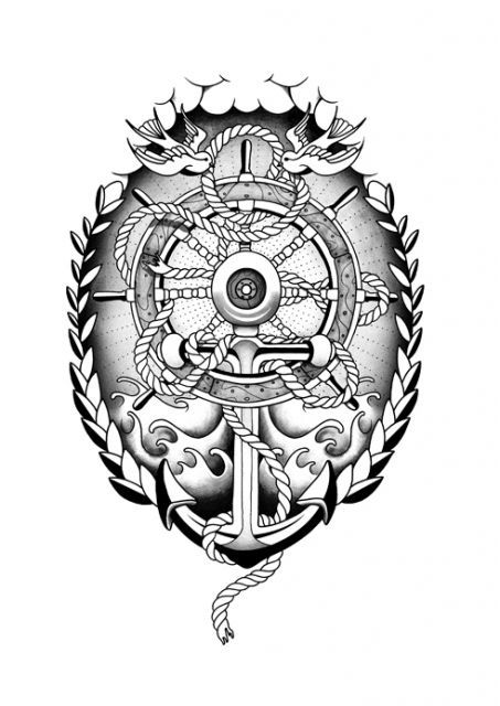 Anchor & Ship Wheel Tattoo. Nice start for a design..