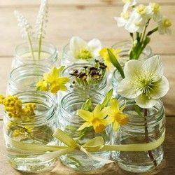 baby food jar vasesIdeas, Baby Food Jars, Spring Flower, Ribbons, Baby Jars, Baby Foods, Mason Jars Centerpieces, Yellow Flower, Center Pieces