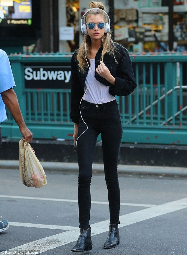 City girl: On Saturday, Stella Maxwell was spotted listening to music and having a walk in New York CIty