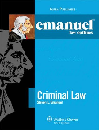 Emanuel Law Outlines: Criminal Law. Creator: Steven L. Emanuel. The most trusted name in law school outlines, Emanuel Law Outlines support your class preparation, provide reference for your outline creation, and supply a comprehensive breakdown of topic matter for your entire study process. Emanuel Law Outline Features: #1 outline choice among law students Comprehensive review of all major topics Capsule summary of all topics Cross-reference table of cases Time-saving format Great...