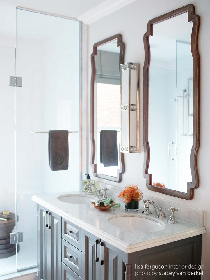 bathroom gray grey vanity hudson valley lighting sconce custom mirrors embroidered towels