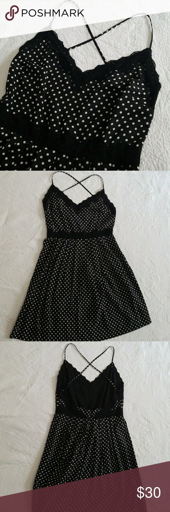 NWT Betsey Johnson Polka Dot Dress Adorable, flirty dress, brand new with tags! Purchased this on a whim at the Betsey Johnson store in San Francisco before it closed, then never wore it! 😕 Dress has empire waist with lace detailing at bust and waist, and pleating in the front and back. Spaghetti straps cross in the back.  Back is open with a hidden zipper. Fabric has silky feel and is 100% polyester. Unlined.  Smartest thing about this dress is that it has adjustable straps! Betsey Johnson…