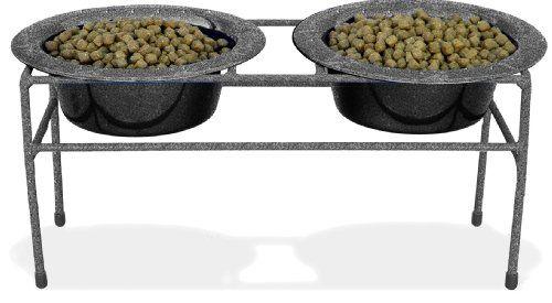 Platinum Pets Double Diner Feeder with Stainless Steel Dog Bowls 28 oz Silver * For more information, visit image link.