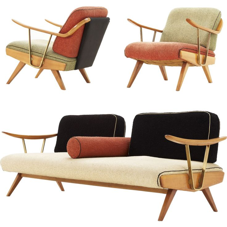 Extremely Unusual Italian Sofa Group with Brass Elements  Italy  1950's  Very unusual and rare Italian sofa group containing a 3 seater and 2 loungechairs. This excellent design of the set shows it's beauty in all ways. The wood in combination with the brass. The sort and colors of the upholstery, and off course, the shape itself.
