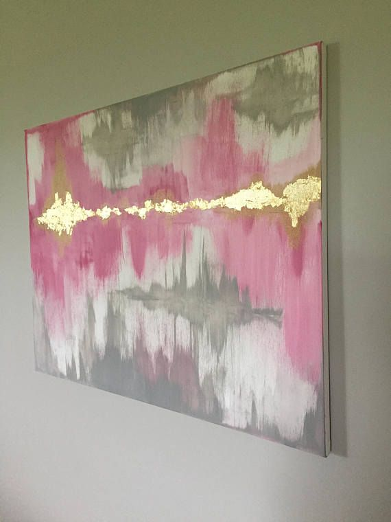 Large Abstract Painting Pink Grey White With Gold Leaf In