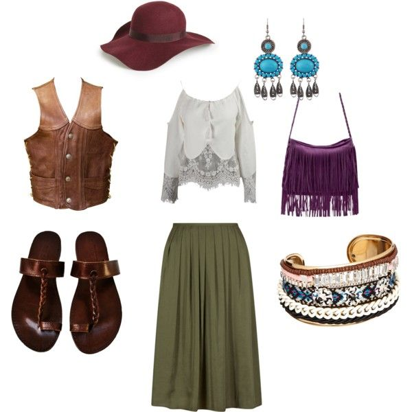 Olive Skirt Boho Style by edeln on Polyvore featuring  and Topshop