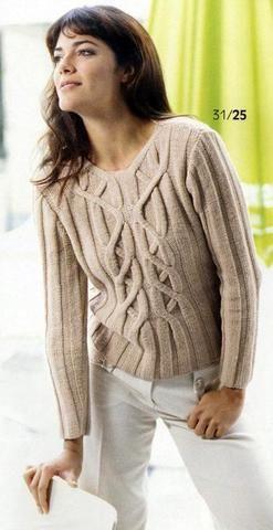 Светлый пуловер с переплетением | Вязание и рукоделие