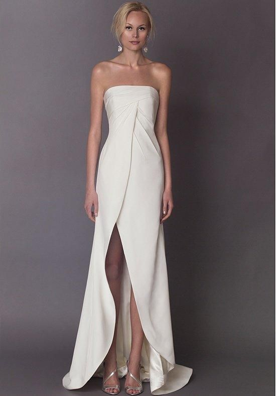 Strapless crepe sheath with draped bodice front and back, finished with a slit front