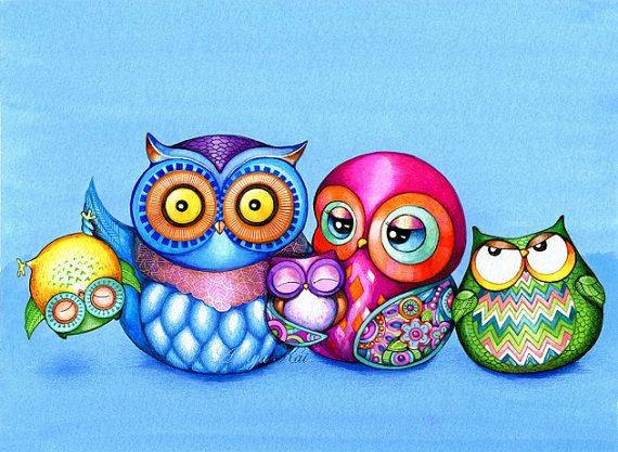 Owl Family Portrait - Funny Family Photo - NEW Owl Illustration Print by Annya Kai - Modern Colorful Owl Art