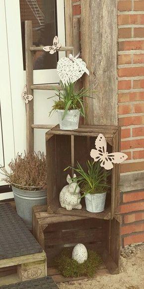 composizioni con piante e cassette di legno