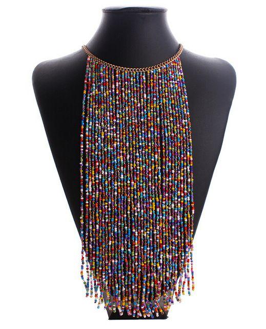 2016 весна лето мода короткие темперамент богемия бусины длинные кисточки этнические украшения себе ожерелье