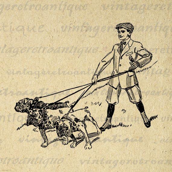 Printable Digital Boy Walking Bulldogs Image Dog Graphic Download Vintage Clip Art Jpg Png Eps 18x18 HQ 300dpi No.1164 @ vintageretroantique.etsy.com #DigitalArt #Printable #Art #VintageRetroAntique #Digital #Clipart #Download