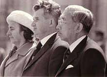 Nicolae Ceaușescu and his wife with Emperor Hirohito during a visit in Tokyo in 1975