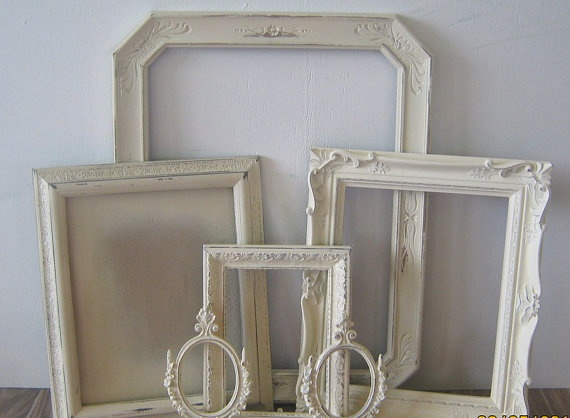 Ornate Heirloom White And Cream Frame Collage Wall Picture Frames Standing Backs Wedding