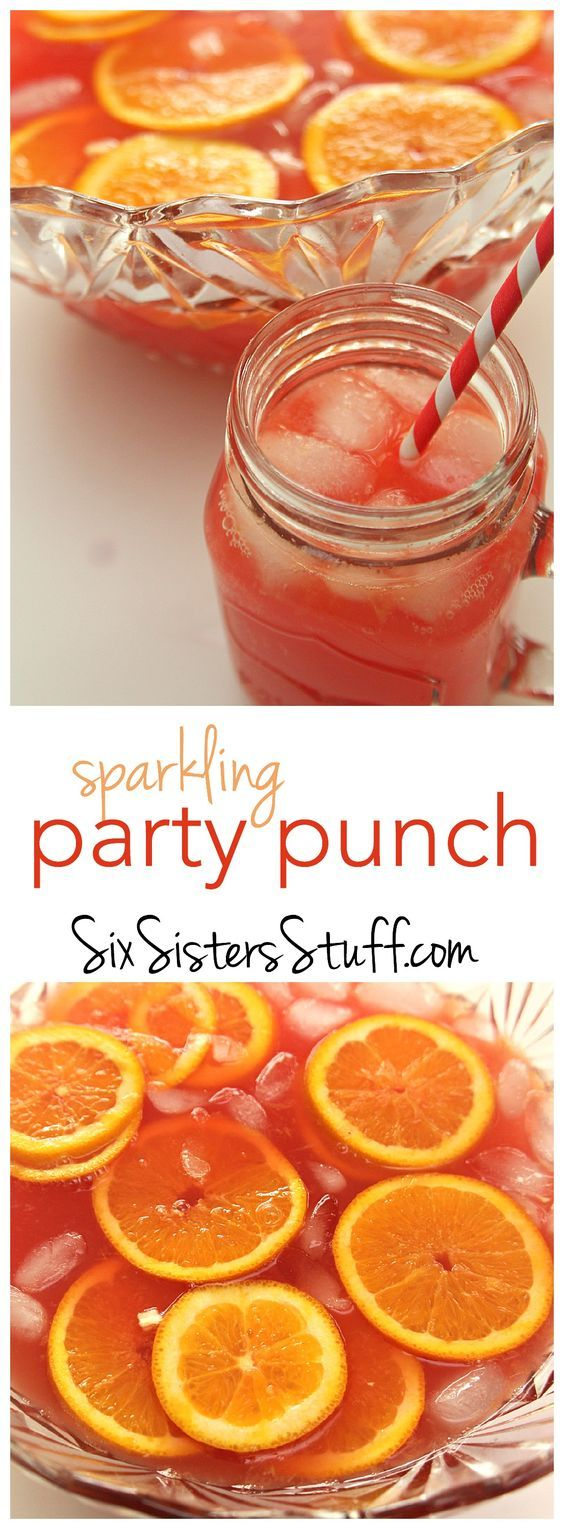 Sparkling Red Party Punch on SixSistersStuff.com - this can be thrown together in minutes and is perfect for parties!