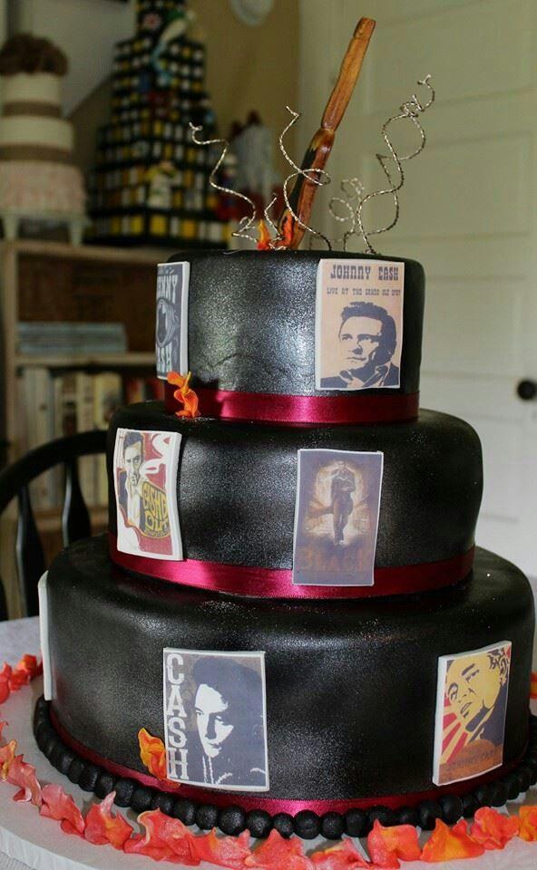 Johnny Cash Themed Cake