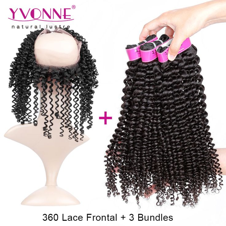 360 Lace Frontal With Bundles Kinky Curly 3Pcs Brazilian Virgin Hair With Closure 360, Top Quality YVONNE Hair Products
