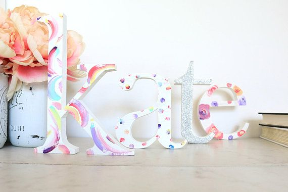 4 Wooden Stand Alone Letters - Wood Letters for Nursery - Custom Baby Name - Individual Wood Letters - Gallery Wall Letters - Wood Initial