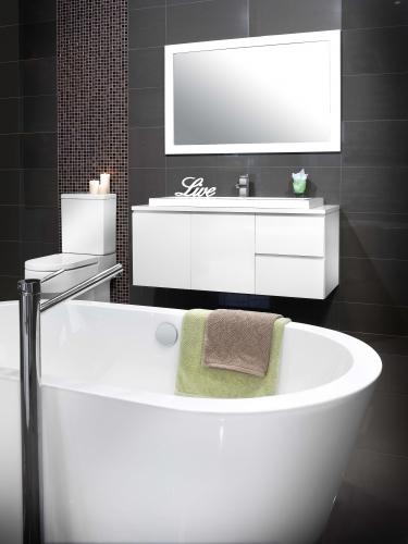 modern classic and simple grey bathroom with clean white furniture and accessories beautiful