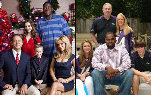 """On the right side is the real Tuohy family and Michael Oher from the movie """"The Blind Side"""". 🏈"""