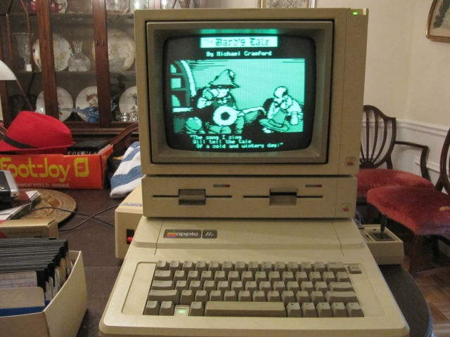 Apple IIe with Duodisk drive (1985) - My dream computer when I was much younger.  This computer came with a treasure trove of software. It was a great find.  I do prefer the IIe Platinum with full color graphics, but I would have welcomed this computer over the VIC-20.