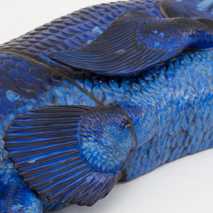 Jeanne Grut: Blue-glazed relief in stoneware for Royal Copenhagen