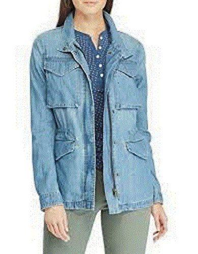 7f3506e0017 Chaps Indigo Blue Denim Cotton Utility Drawstring 4-Pocket Jacket Small