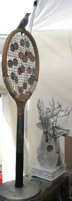 Tennis Racquet attached to wooden stand repurposed into jewelry display rack for arts and crafts show booth, retail store display fixture, or home decor idea; Upcycle, Recycle, Salvage, diy, thrift, flea, repurpose!  For vintage ideas and goods shop at Estate ReSale & ReDesign, Bonita Springs, FL